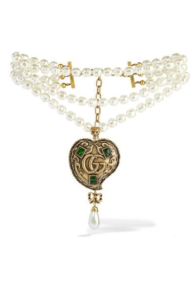 ed72eb3ad GUCCI women's classy Burnished gold-tone, faux pearl and crystal necklace