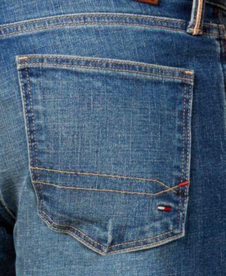 ec901fd2e3f3 Tommy Hilfiger Mens Distressed Slim-Fit Jeans - Blue 38x34 ...