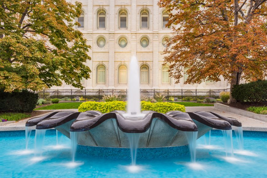 Salt Lake Autumn Fountain | Lds temple pictures, Salt lake temple ...
