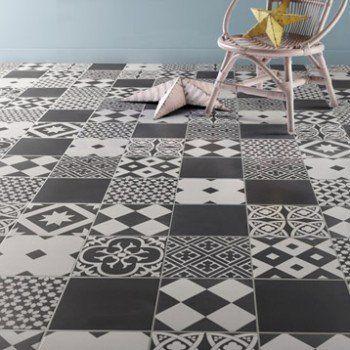 Carrelage sol et mur noir et blanc effet ciment gatsby l 20 x l