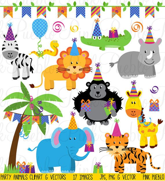 Birthday Party Animals Clipart Clip Art Zoo Safari Jungle Etsy Animal Clipart Animal Party Birthday Clipart
