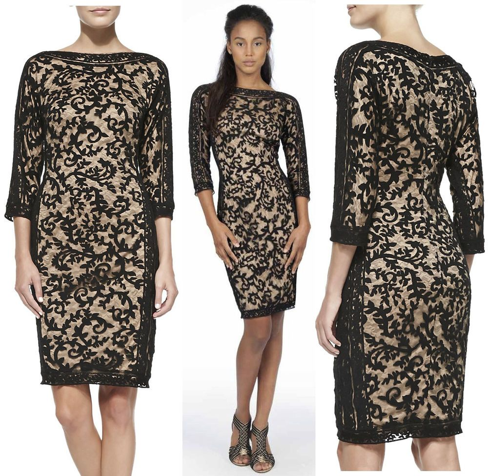 $370 Tadashi Shoji Black / Nude Embroidered Lace Panel 3/4 Sleeves Dress