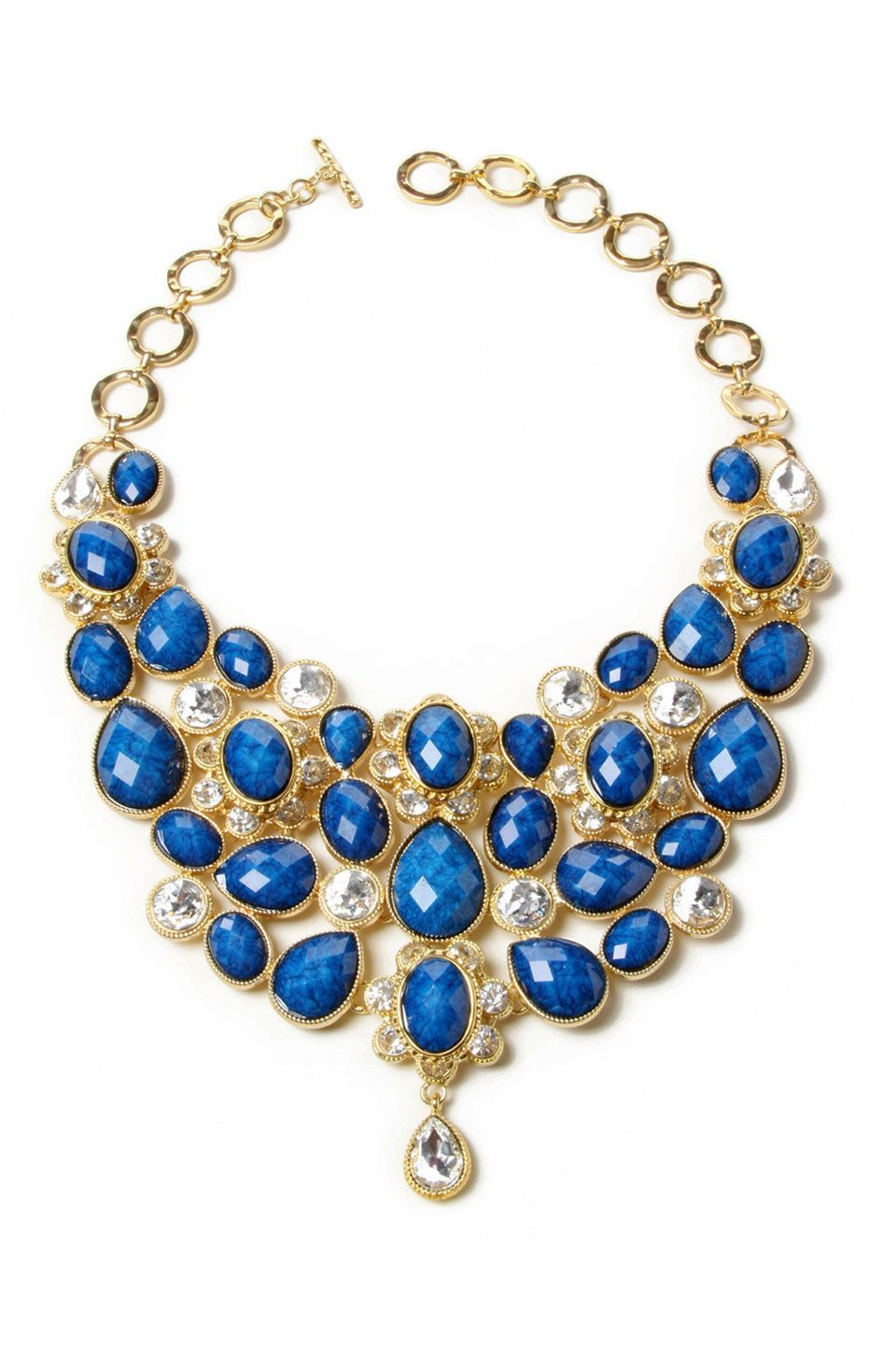 Crystal South Fork Bib Necklace In Lapis