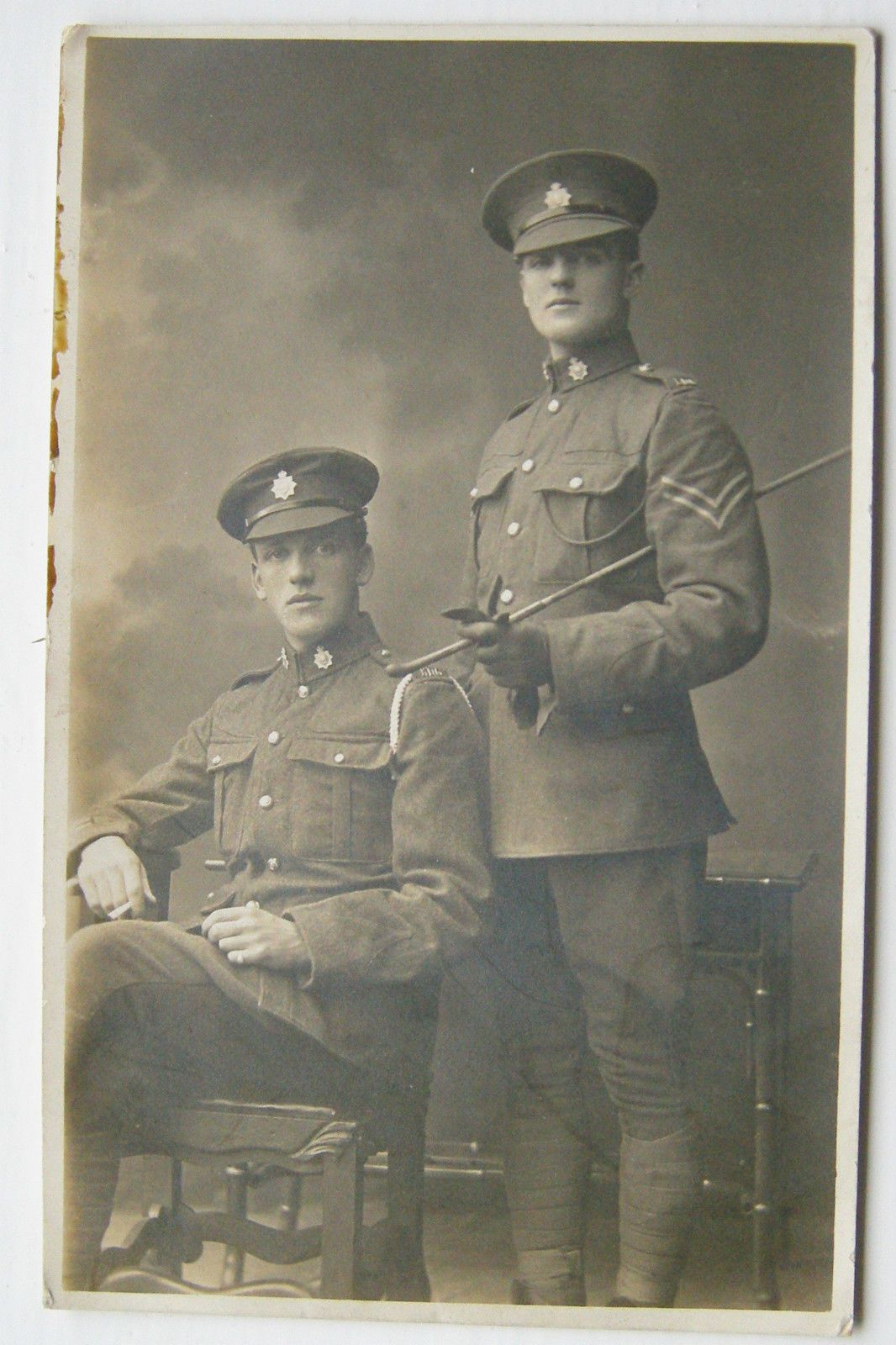 1st KINGS DRAGOON GUARDS PHOTO POSTCARD ARMY SOLDIERS WW1