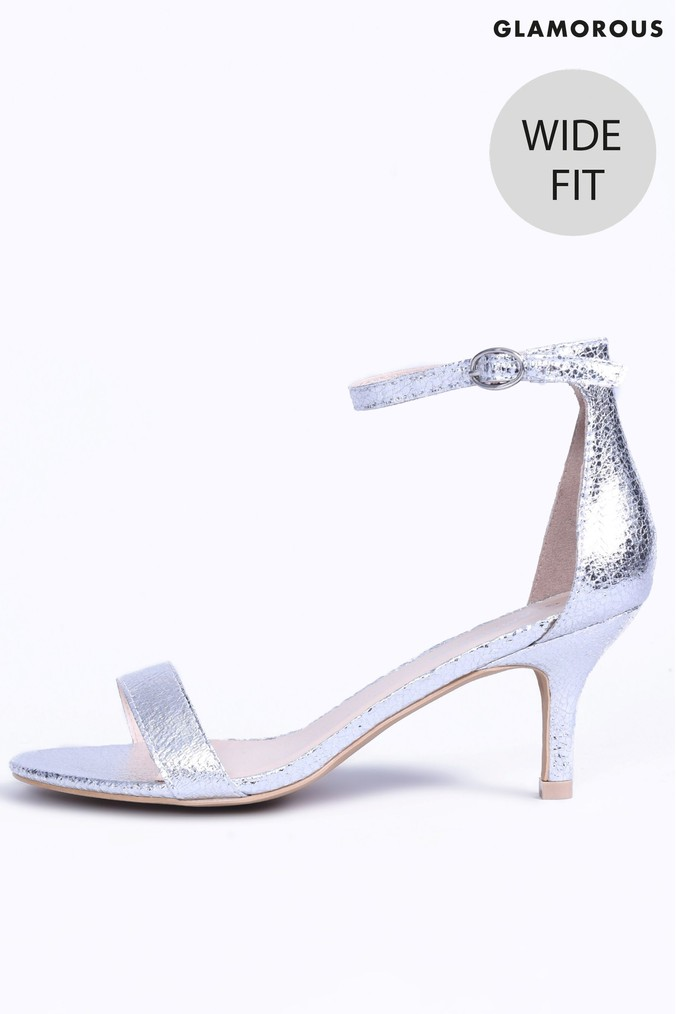 66ea9a36291f4 Womens Glamorous Patent Wide Fit Mid Heel Sandals - Silver in 2019 ...