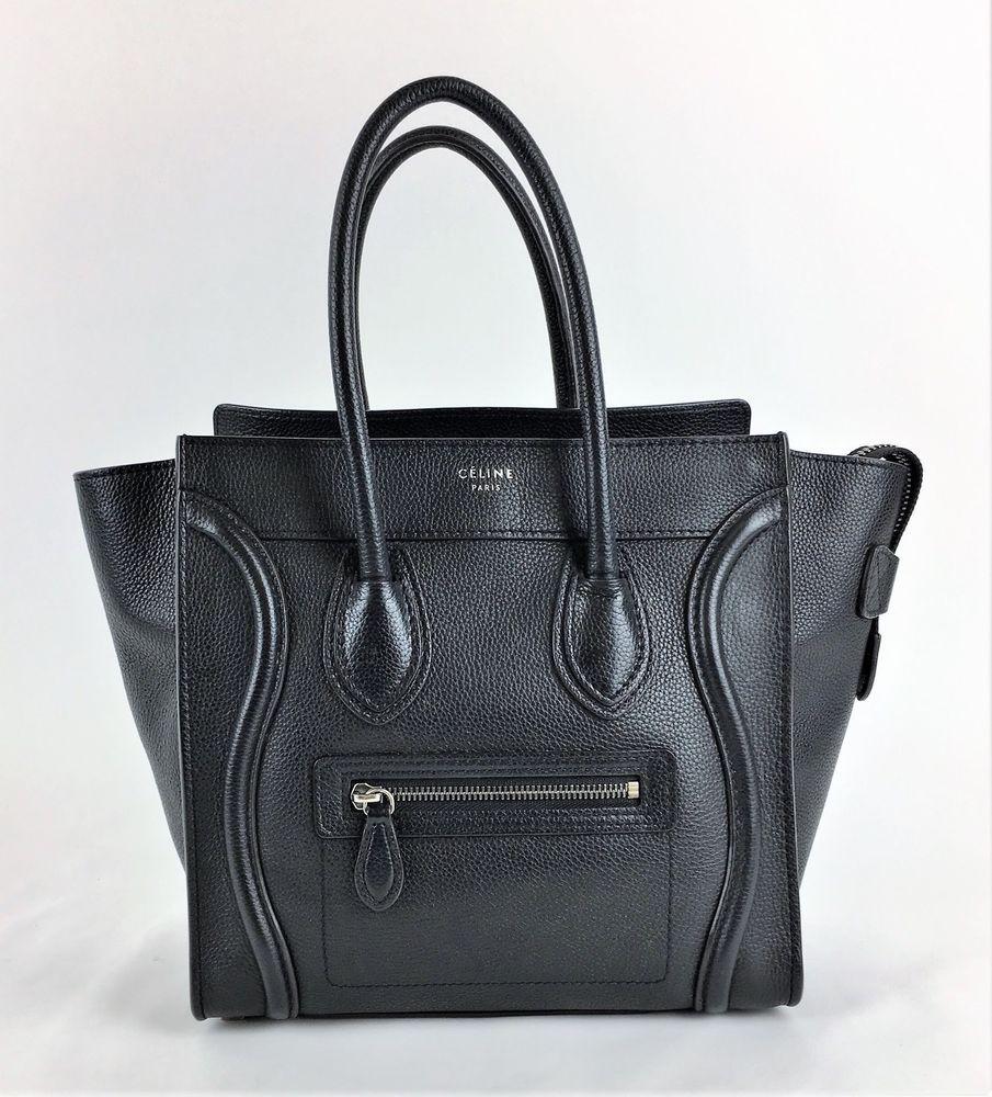 d6601036d240 Authentic Celine Nano Luggage Black pebbled leather Crossbody Bag mini   Celine  Crossbody