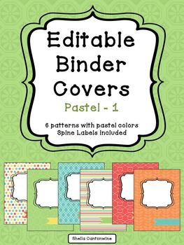 Organize your classroom with these 6 different designs of editable binder covers in pastel colors.