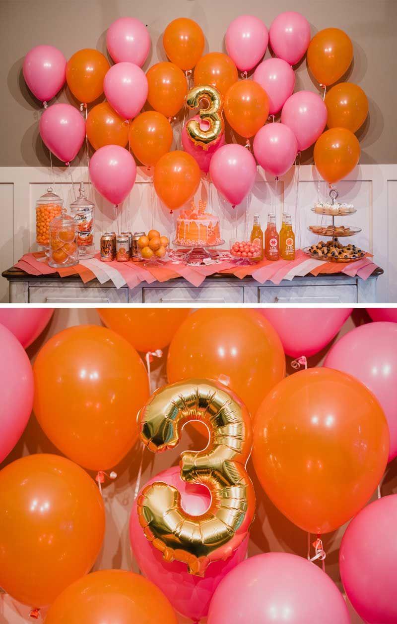 pink party orange party little girls birthday