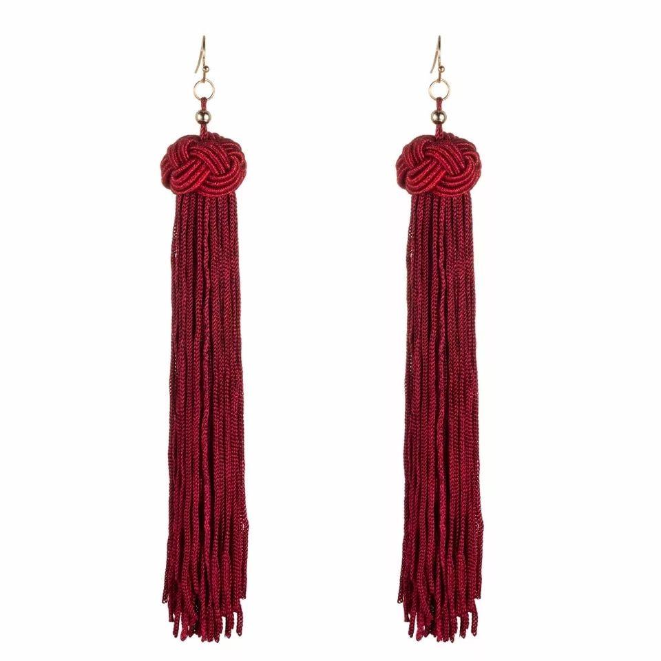 Aretes de moda rojos largos borlas y nudo  🔱 Aretes rojos largos.🔅Color e6739f1ca7a