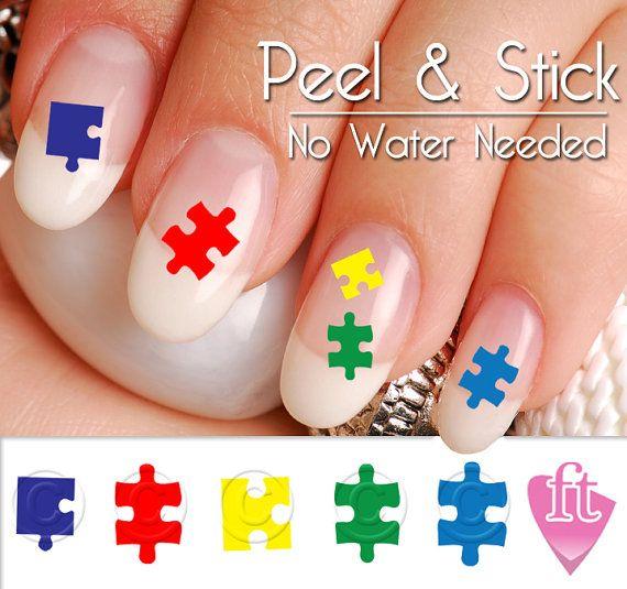 Autism Awareness Nail Art Decal Sticker Set - Autism Puzzle Pieces