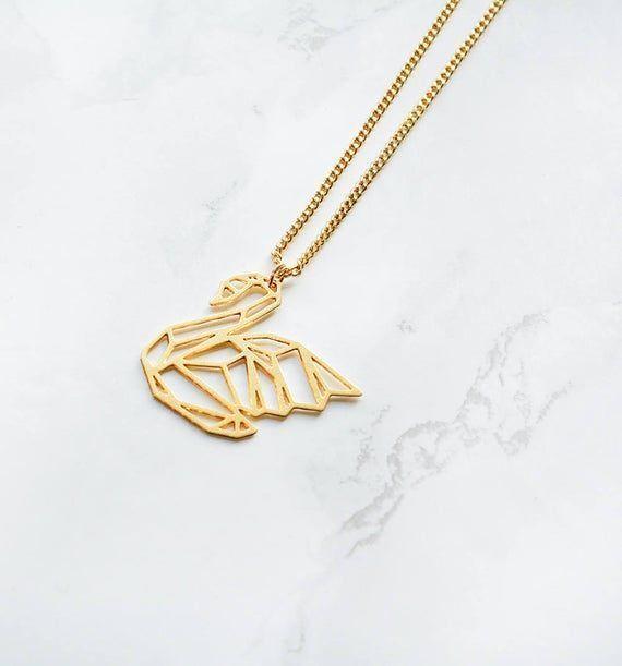 Photo of Schwan Halskette, Origami Halskette, Origami Schwan, Origami Tier, Tier Anhänge…