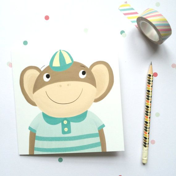 Monkey greetings card etsy becky down ill becky down monkey greetings card etsy becky down m4hsunfo