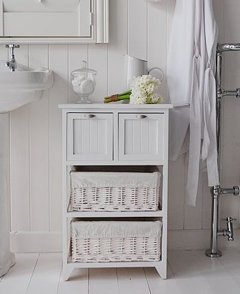 Connecticut Freestanding White Bathroom Cabinet With Baskets And Drawers Home Pinterest