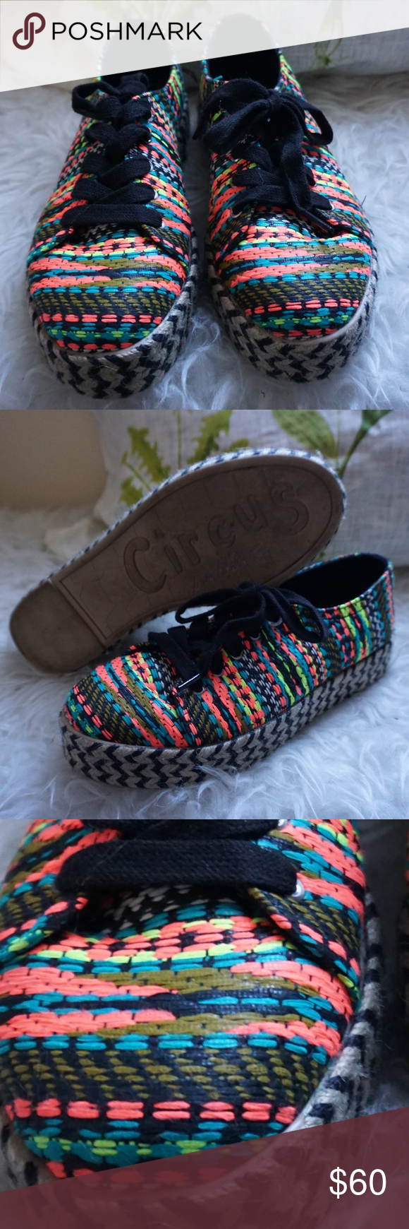 Rainbow Neon Circus Sneaker Rainbow neon creeper/platform style sneaker, straw wrapped bottom. Extremely interesting, pretty comfortable, only worn 2 or 3 times, I absolutely love these shoes but due to the odd shape of my feet I can't wear them :( I'm sad to let these go! Circus by Sam Edelman Shoes Sneakers