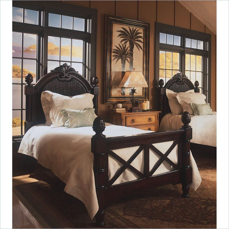 Tommy Bahama Home Bungalow Pineapple Wood Panel Bed British