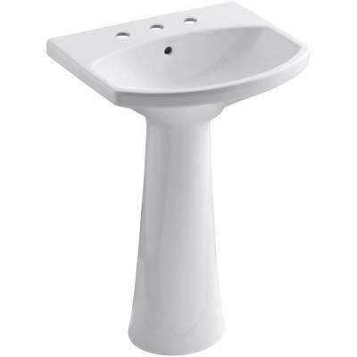 Cimarron 8 In Widespread Vitreous China Pedestal Combo Bathroom Sink In White With Overflow Drain 209 At Homedepot Bathroom Sink Pedestal Sink Sink