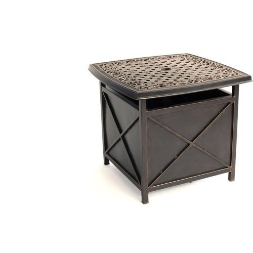 Convenient For Holding Beverages And Snacks As You Lounge Outdoors 26 X 26 In Table Top Features A Dec Side Table Brown Outdoor Furniture Patio Umbrella Stand