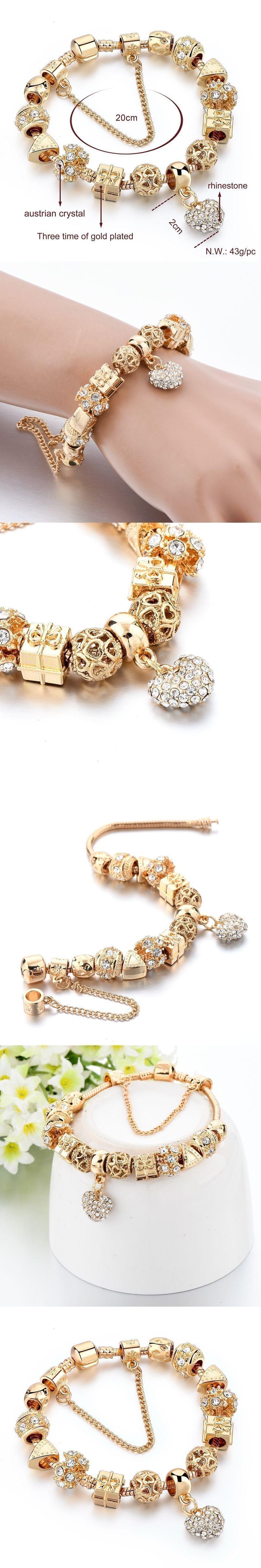 Longway new fashion jewelry heart charm bracelets for women crystal