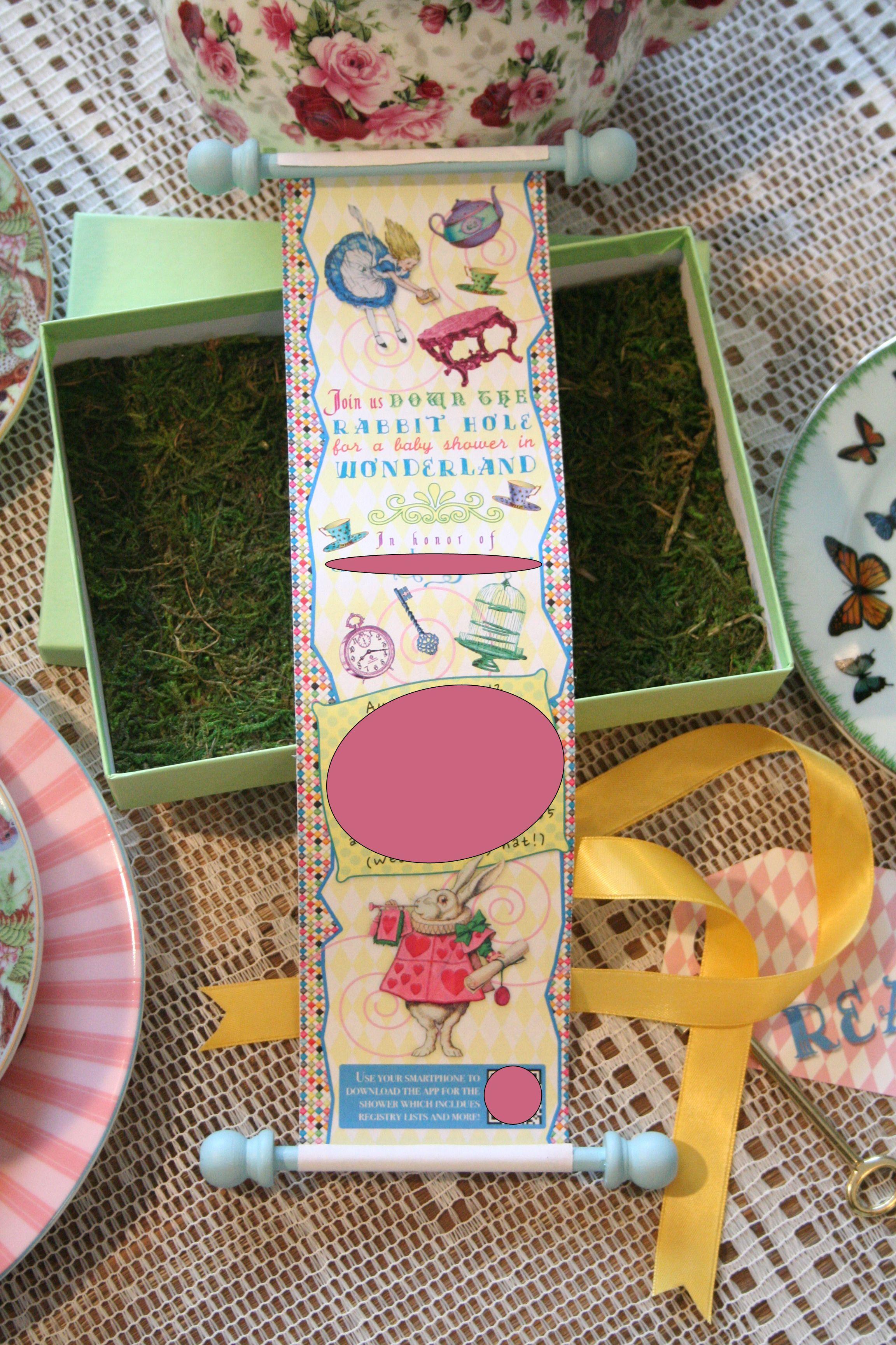 Alice In Wonderland Baby Shower Invitations Alice In Wonderland