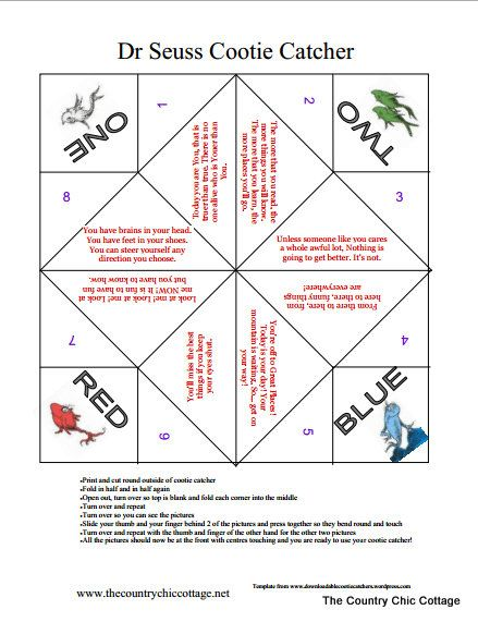 photo regarding Printable Cootie Catcher Template titled Dr Seuss Sport -- Cootie Catcher Free of charge Printable Dr
