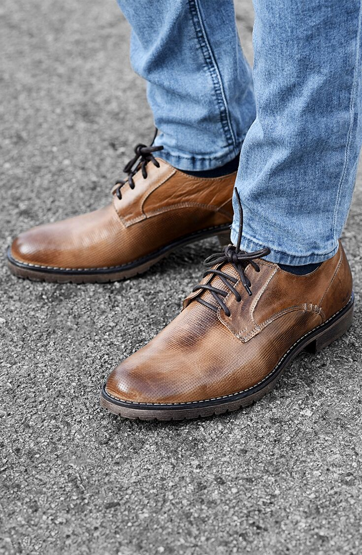 Wear these handmade tan leather shoes