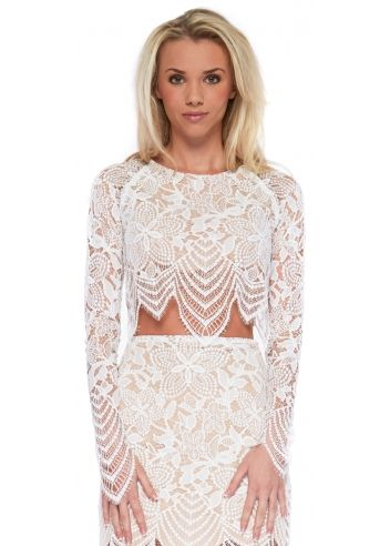 10ebfcee85c For Love & Lemons Guava White Lace Cropped Top   For Love & Lemons ...