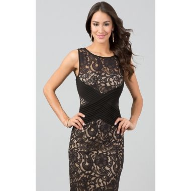 SLEEVELESS FLORAL LACE KNEE LENGTH DRESS WITH CRISSCROSS RUCHED DETAIL