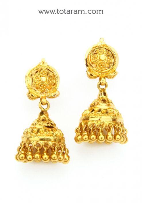 22K Gold Jhumkas Gold Dangle Earrings Totaram Jewelers Buy