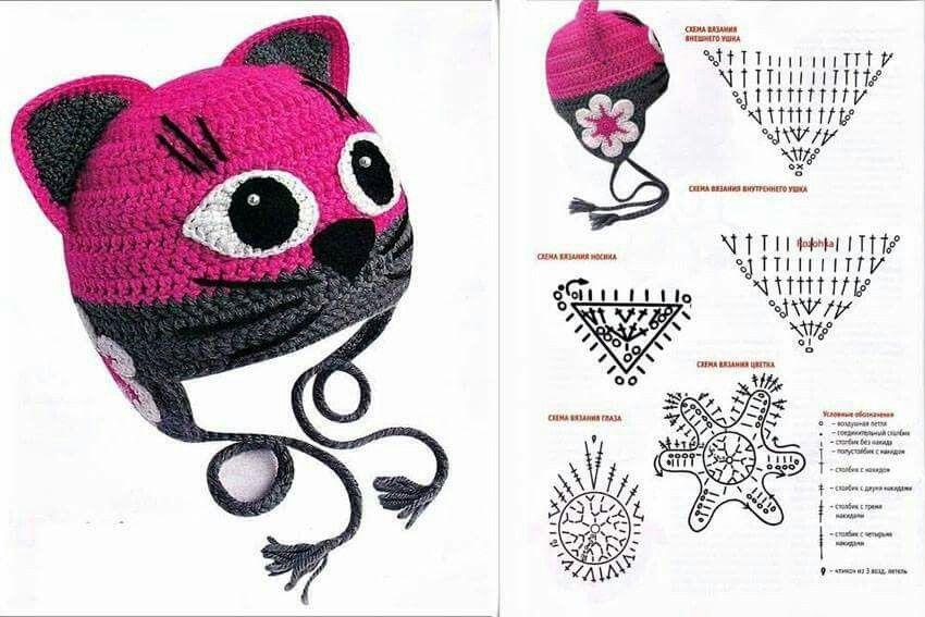 Touca Gatinha | croche | Pinterest | Gorros, Gorros crochet y Deberes
