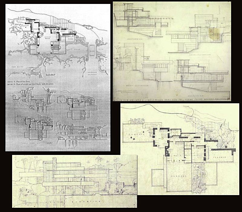 original floor plan and section cuts frank lloyd wright house of falling water. Black Bedroom Furniture Sets. Home Design Ideas