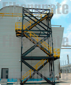 Escalera Lateral De Torre De Enfriamiento De Pemex Fabricada Con Perfiles Estructurales De Fibra De Vidrio Fibra De Vidrio Fibra Torre De Enfriamiento