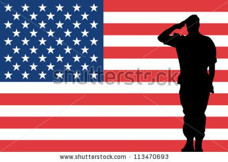 the united states of america flag and the silhouette of a soldier saluting stock vector