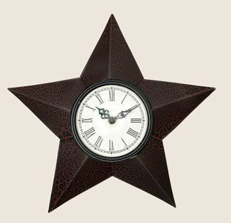 Crackle Black Red Country Primitive Star Clock Wall Clock Clock Rustic Black
