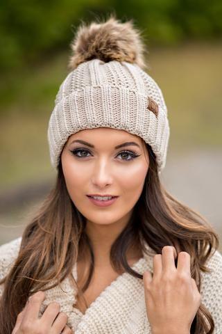 f02d33b8 CC Knit Blanket Lined Fur Pom Pom Beanie (Beige) - NanaMacs.com - 1 ...