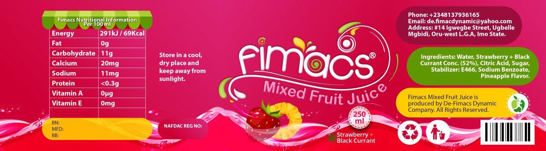Fimacs Juice Label Design   Label design, Mixed fruit juice