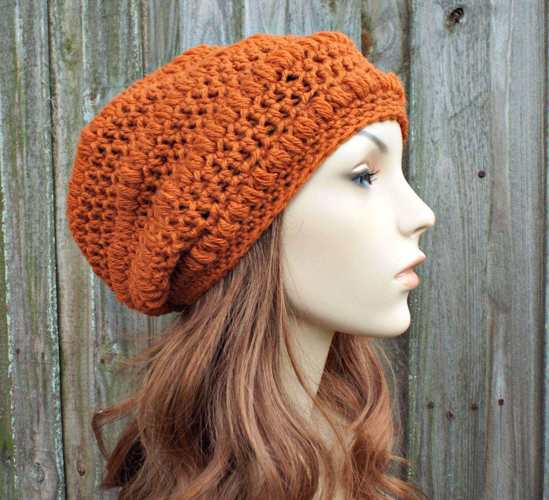 571d58f533c Copper Orange Crochet Hat Womens Hat - Penelope Puff Stitch Slouchy Beanie  Hat - Orange Beanie Orange Hat Wool Hat - READY TO SHIP
