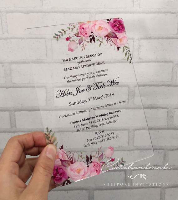 Online Shop CA0967 Floral SIMPLY CHIC acrylic wedding invitation customized flower with envelope liner   Aliexpress Mobile is part of Acrylic wedding invitations -
