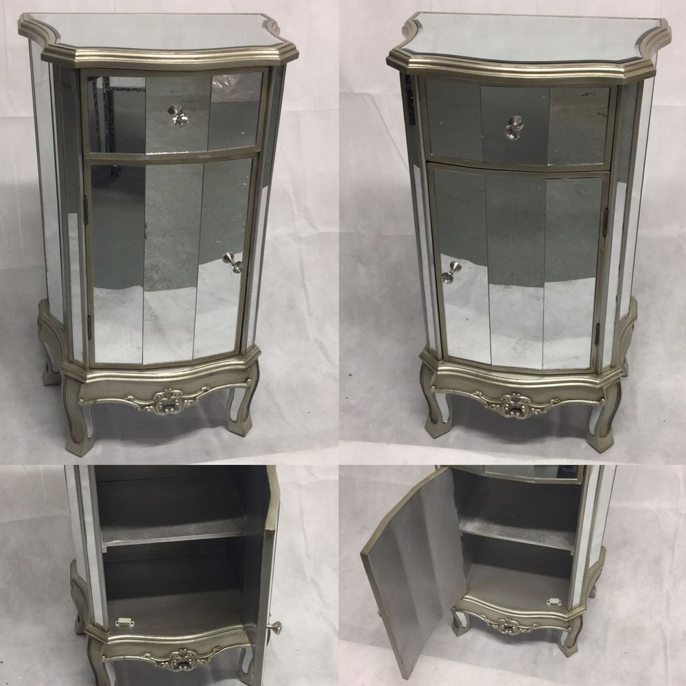 PAIR OF ANTIQUE SILVER FRENCH MIRRORED GLASS BEDSIDE TABLE CABINET ARGENTE RANGE in Home, Furniture & DIY, Furniture, Bedside Tables & Cabinets | eBay