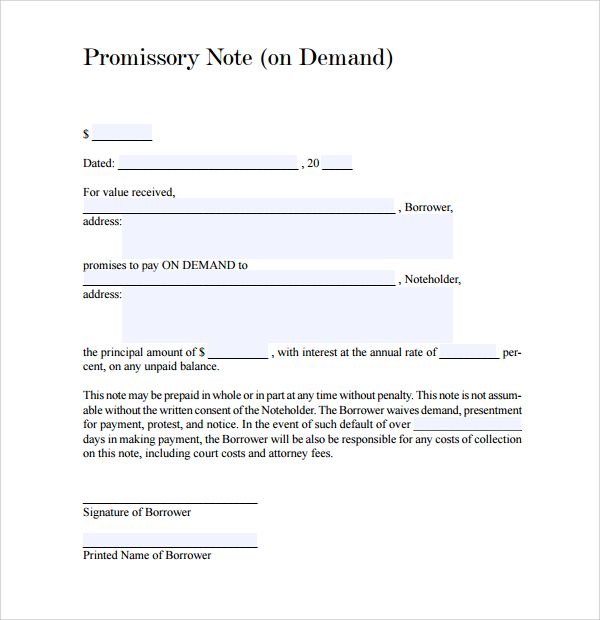 Due on demand means when payee ask then payer have to pay that - promissory note sample pdf