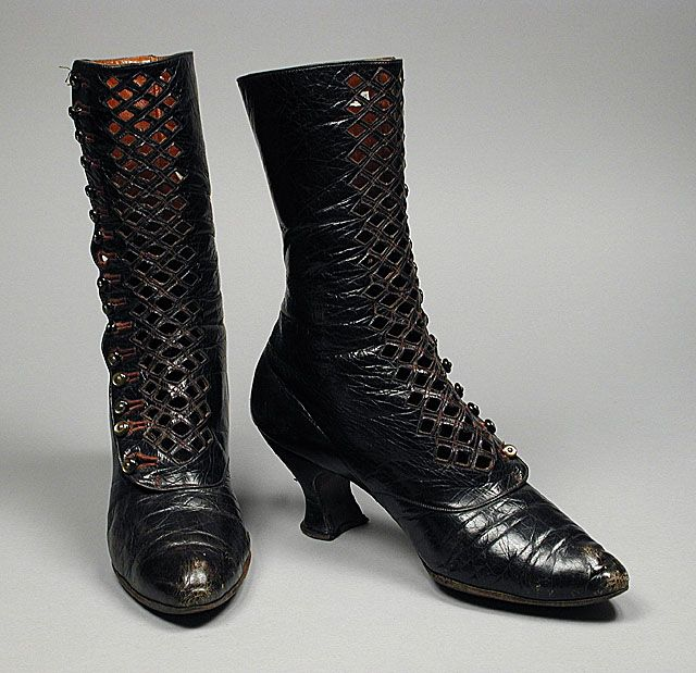 french leather cutout boots ca 1901 early 20th century shoes boots pinterest h te. Black Bedroom Furniture Sets. Home Design Ideas