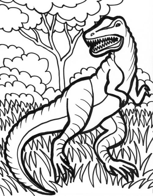 Trex Dinosaurus Coloring Pages  Dinosaur cartoon coloring pages