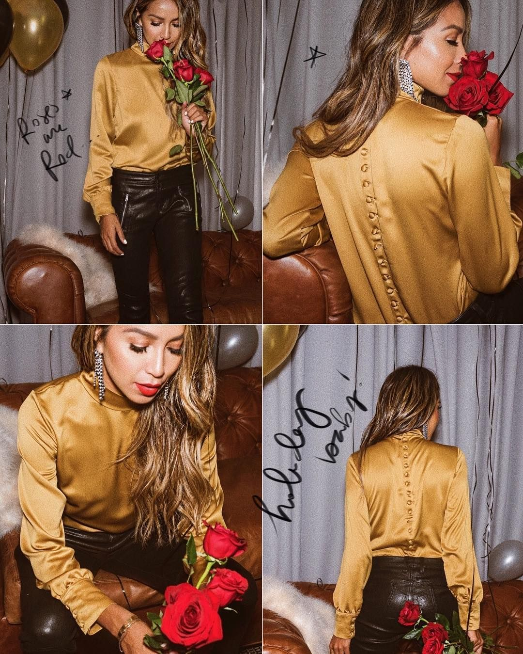 "efa86c928d8 JULIE SARIÑANA on Instagram  ""Roses are red... • Perfect holiday look with  our Clara blouse  shop sincerelyjules"" •"