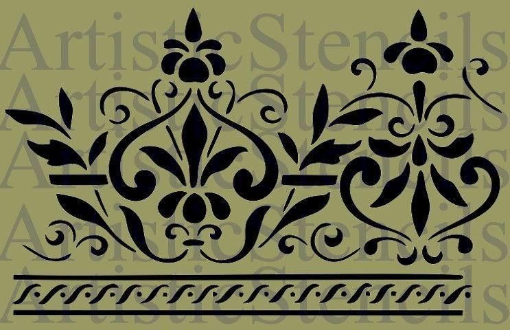 Scroll Border Design Stencil - 10x6.5