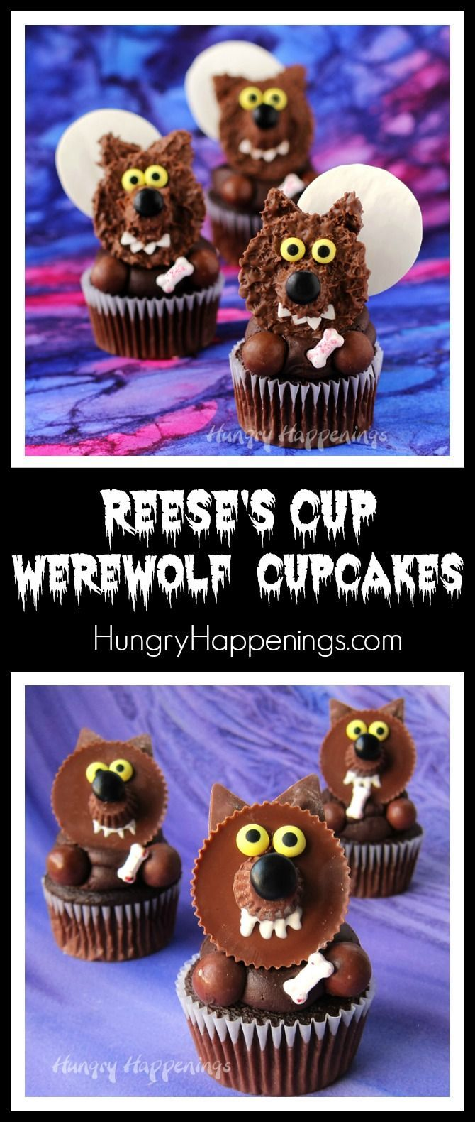 Reese's Cup Werewolf Cupcakes - Halloween Treats