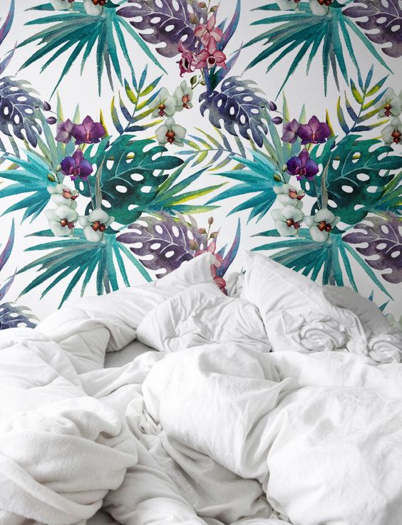 Papier peint autocollant fleur exotique aquarelle motif de d cor de mur papi - Papier peint exotique ...