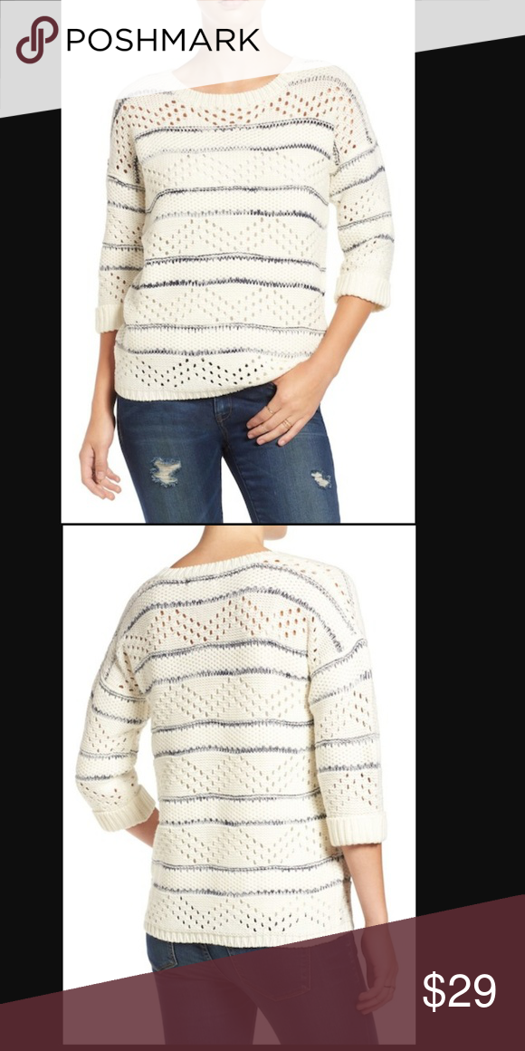 18c32957ab33 Elodie Stripe Pointelle Knit Sweater White Cut-Out CONDITION: Some light  pilling to fabric as shown in photos (coming soon) DETAILS: Streaky navy  stripes ...