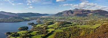 The Lake District designated a National Park in May of 1951. The Skiddaw massif, town of Keswick and Derwent Water seen from Walla Crag