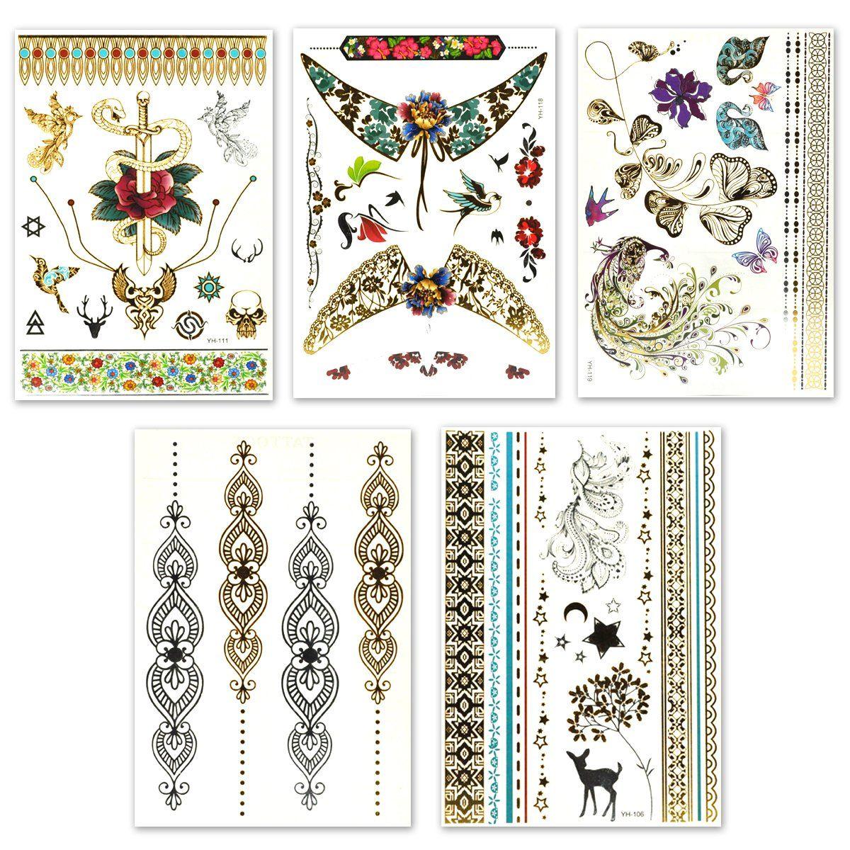 Lady Up Temporary Tattoos Super Cool 150 Designs Metallic Waterproof Henna Tattoo Stickers Decals 20 Sheets For Henna Tattoo Stickers Tattoo Stickers Body Art