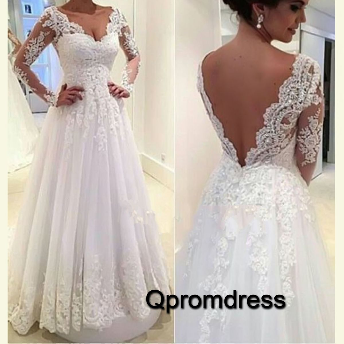 Elegant V Neck Open Back White Lace Satin Long Prom Dress With