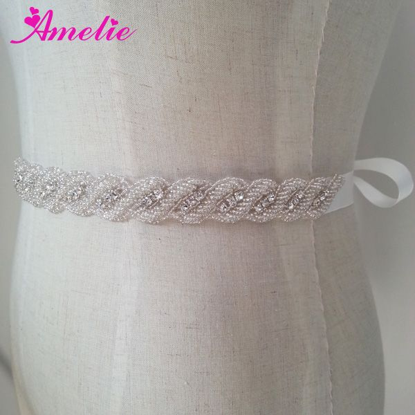 Free Shipping Rhinestone And Crystal Beaded Bridal Sash Belt